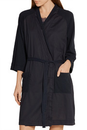 Emily cotton poplin-paneled slub cotton-jersey robe