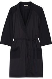 Skin Emily cotton poplin-paneled slub cotton-jersey robe