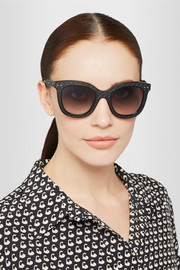 Square-frame acetate and intrecciato leather sunglasses