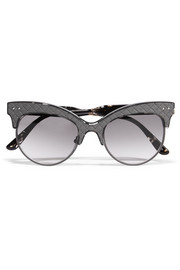 Cat-eye  acetate and intrecciato leather sunglasses