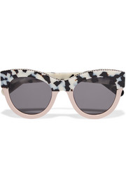 Chain-trimmed cat-eye acetate sunglasses