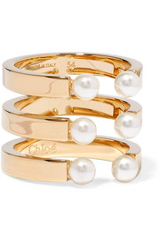 Darcey gold-plated Swarovski pearl ring