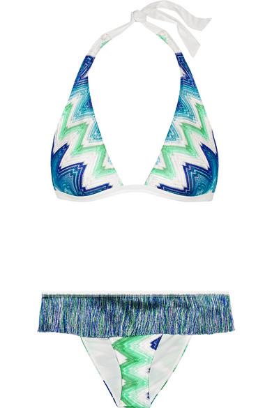 Missoni - Mare Fringed Crochet-knit Halterneck Bikini - Cobalt blue