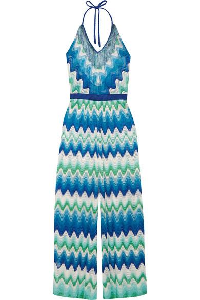 Missoni - Mare Fringed Crochet-knit Halterneck Jumpsuit - Cobalt blue