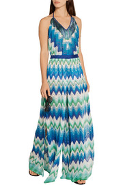 Missoni Mare fringed crochet-knit halterneck jumpsuit