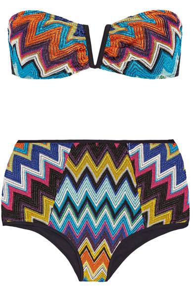 Missoni - Mare Metallic Crochet-knit Bandeau Bikini - Blue