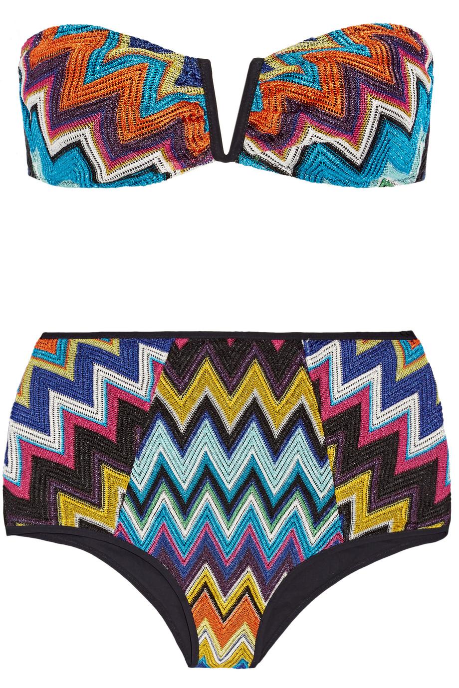 Missoni Mare Metallic Crochet-Knit Bandeau Bikini, Size: 46