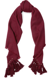 Chloé Eyelet-embellished tasseled wool, silk and cashmere-blend scarf