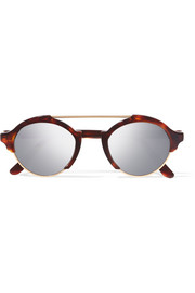 Milan IV Havana metal and acetate mirrored sunglasses