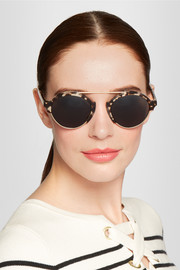 Milan III acetate and metal round-frame sunglasses
