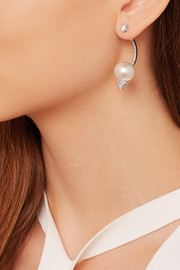 18-karat white gold, pearl and diamond earring