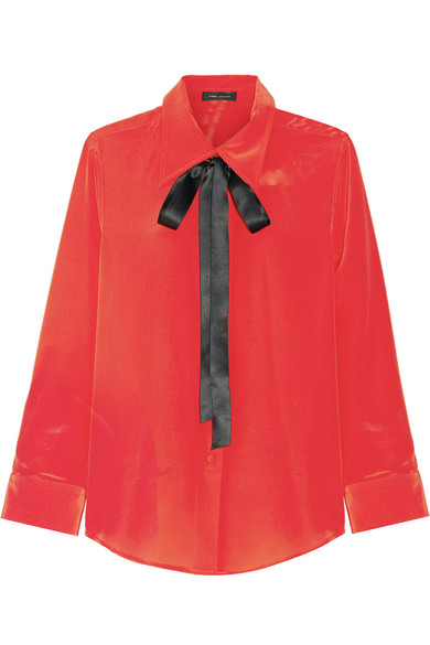 Marc Jacobs - Pussy-bow Silk Crepe De Chine Shirt - Red