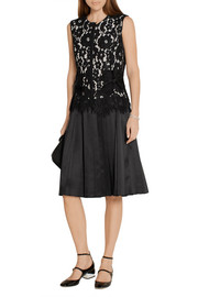 Marc Jacobs Corded lace and pleated silk-satin dress