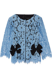 Marc Jacobs Bow-embellished silk twill-paneled guipure lace top