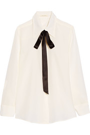 Marc Jacobs Pussy-bow silk crepe de chine shirt