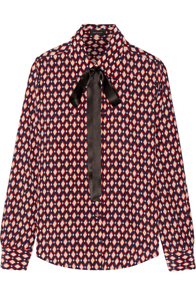 Marc Jacobs - Pussy-bow Printed Silk Crepe De Chine Shirt - Red