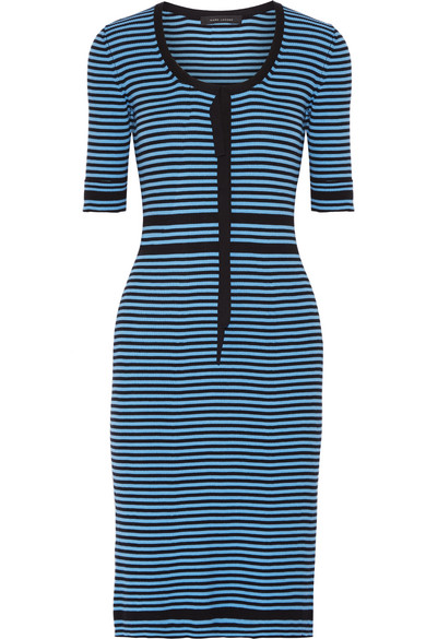 marc jacobs female 133556 marc jacobs striped ribbed cotton dress azure