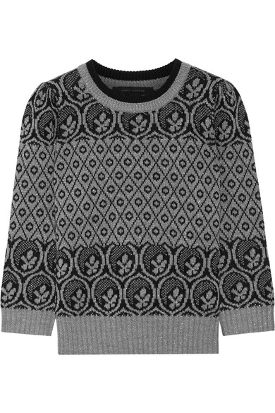 marc jacobs female 123868 marc jacobs metallic fair isle woolblend sweater gray