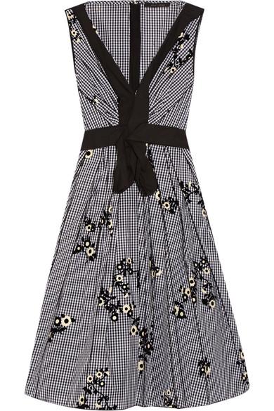marc jacobs female 188971 marc jacobs flocked gingham cottonpoplin dress black