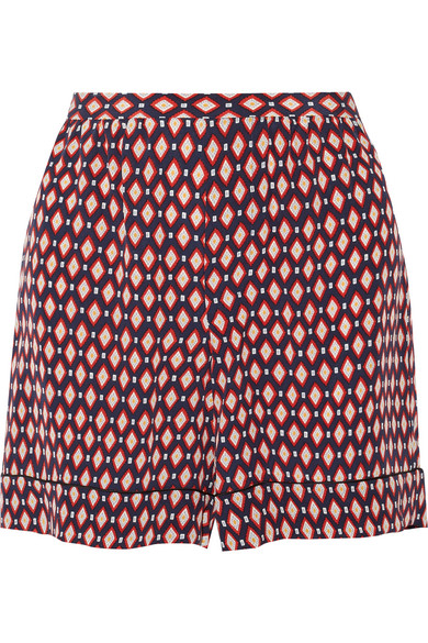 marc jacobs female 250960 marc jacobs printed silk crepe de chine shorts red