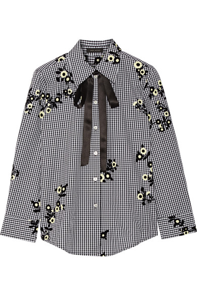 Marc Jacobs - Pussy-bow Flocked Gingham Cotton-poplin Shirt - Black