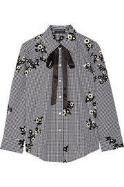 Marc Jacobs Pussy-bow flocked gingham cotton-poplin shirt