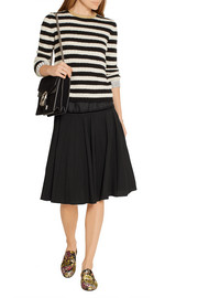 Marc Jacobs Silk-trimmed pleated stretch-wool skirt