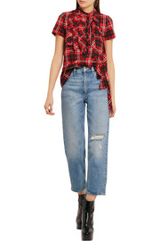 Marc Jacobs Ruffled plaid cotton-jersey top