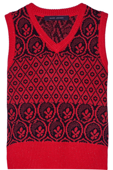marc jacobs female 250960 marc jacobs metallic fair isle woolblend sweater red