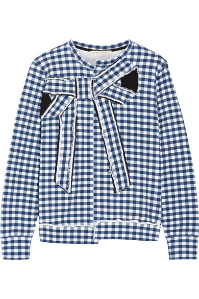 marc jacobs female 201920 marc jacobs bowembellished gingham cottonjersey sweatshirt blue