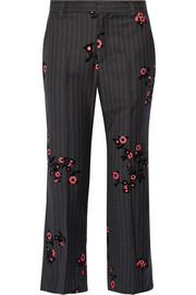 Bowie flocked pinstriped wool-crepe straight-leg pants