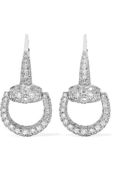 Gucci - 18-karat White Gold Diamond Horsebit Earrings