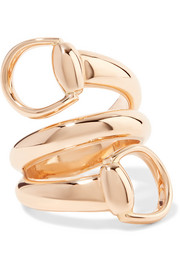 18-karat rose gold horsebit ring