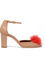 Jan cashmere pompom-embellished leather pumps
