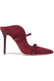 Maureen patent leather-trimmed suede mules