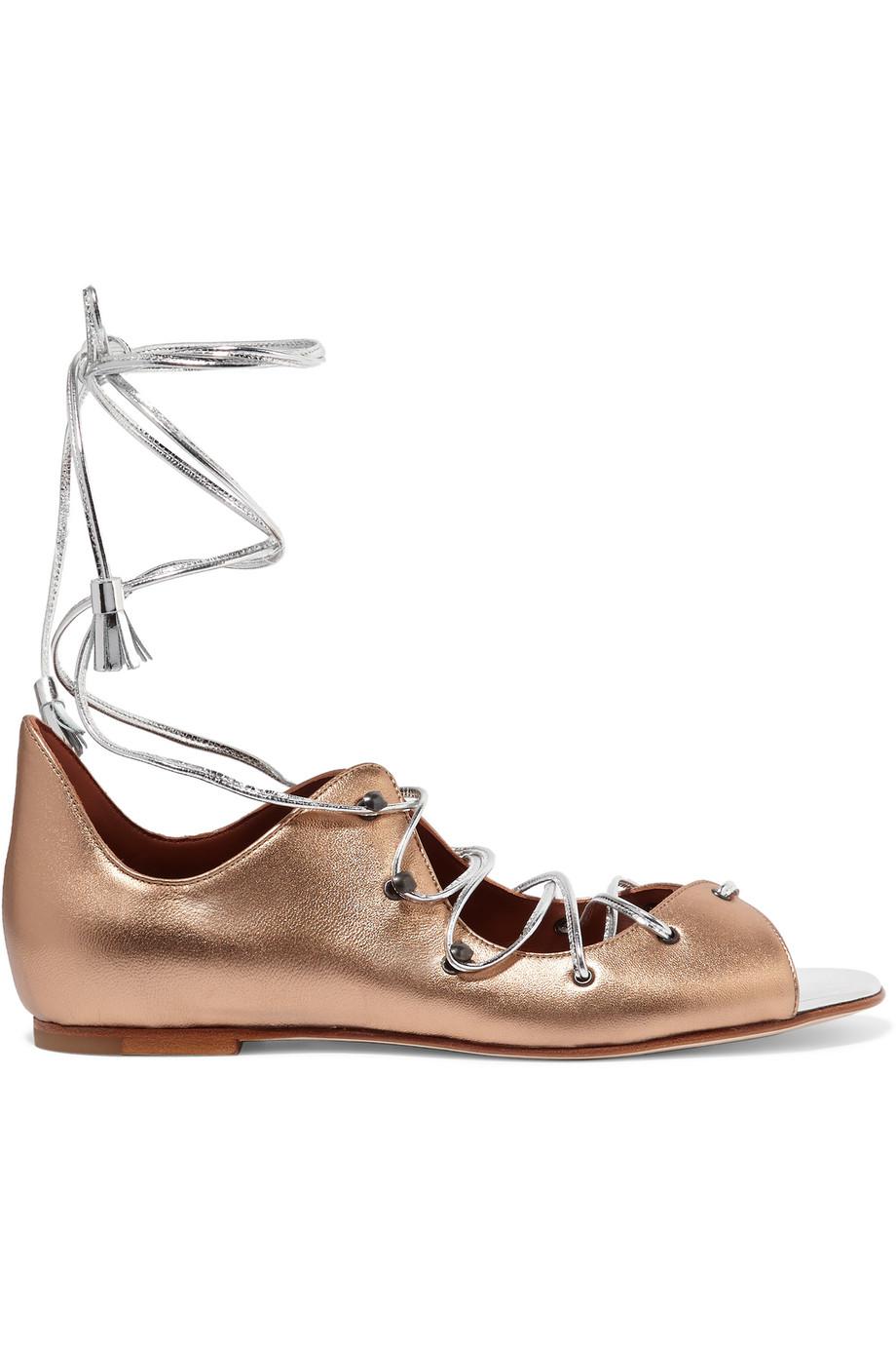 Savannah Lace-Up Metallic Leather Sandals, Gold/Metallic, Women's US Size: 11, Size: 41.5