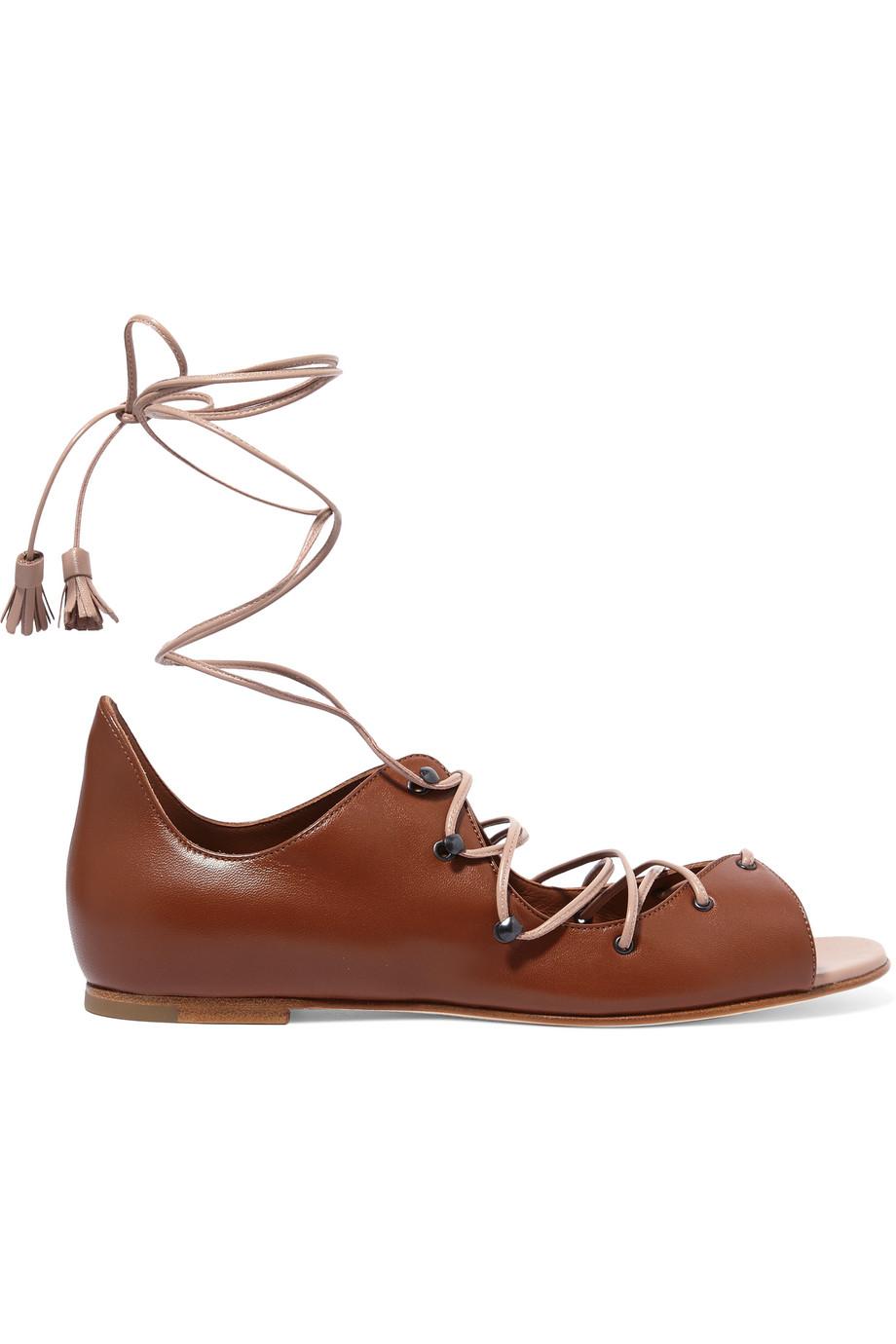 Savannah Lace-Up Leather Sandals, Tan, Women's US Size: 8, Size: 38.5