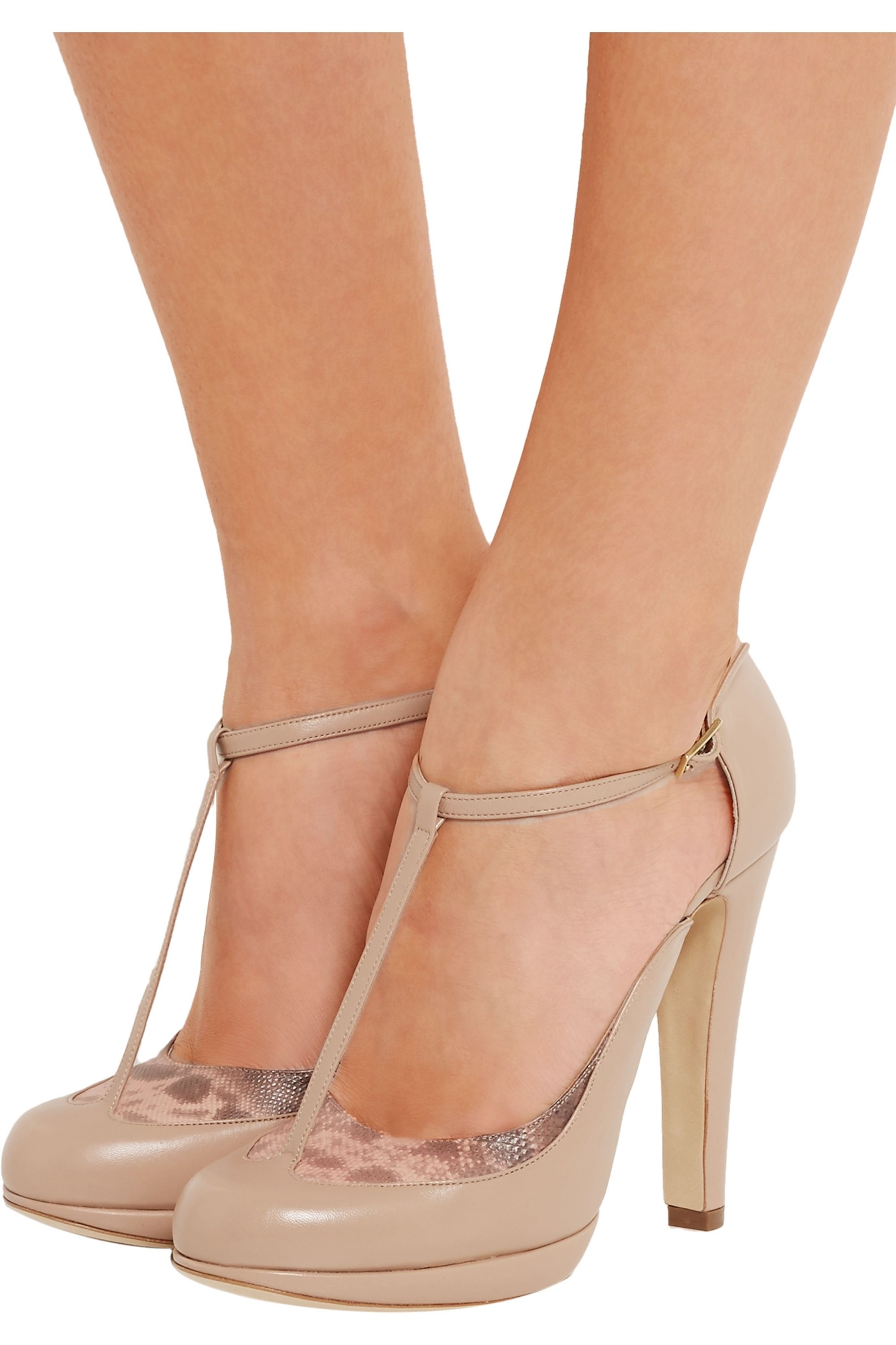 Malone Souliers Linda snake-trimmed leather Mary Jane pumps