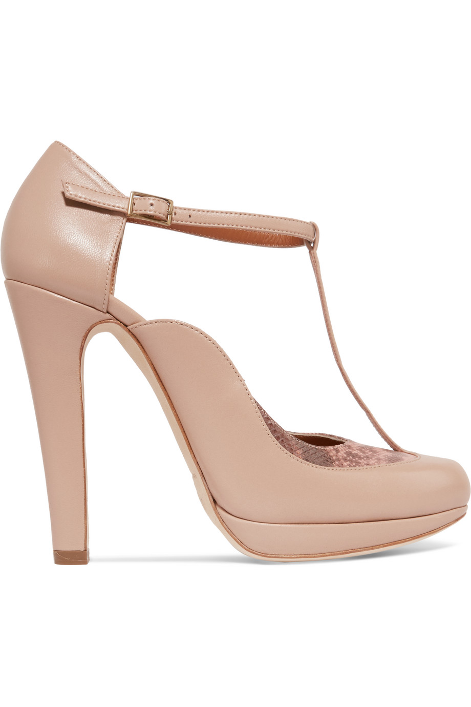 Linda Snake-Trimmed Leather Mary Jane Pumps, Antique Rose/Neutral, Women's US Size: 8, Size: 38.5