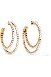 Gold-plated faux pearl hoop earrings