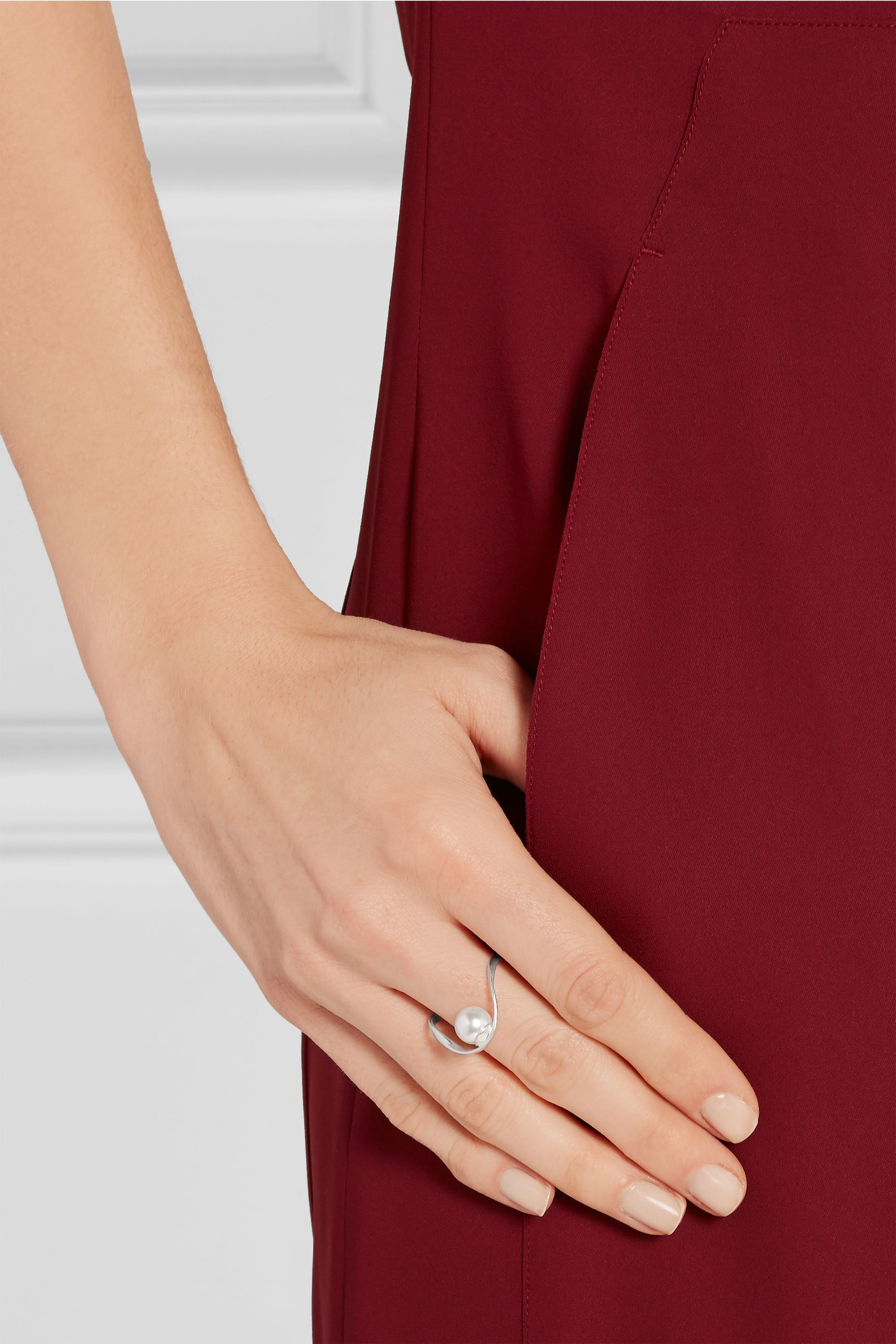Maison Margiela Silver-plated faux pearl ring