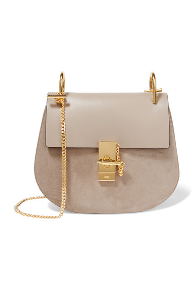 Chloé - Drew Small Leather And Suede Shoulder Bag - Gray