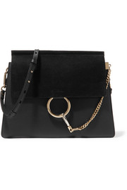 Faye medium leather and suede shoulder bag