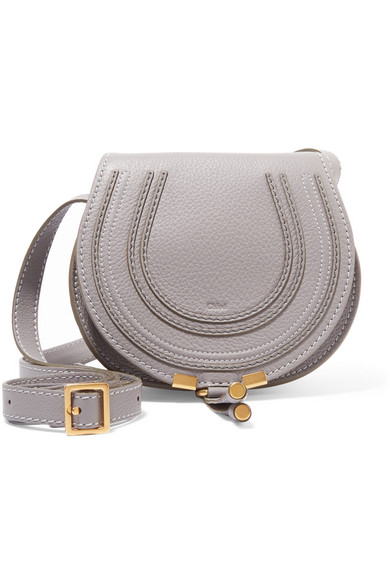 Chloé - The Marcie Mini Textured-leather Shoulder Bag - Gray