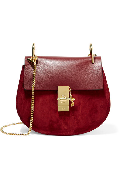 Chloé - Drew Small Leather And Suede Shoulder Bag - Burgundy