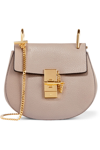 Chloé - Drew Mini Textured-leather Shoulder Bag - Gray