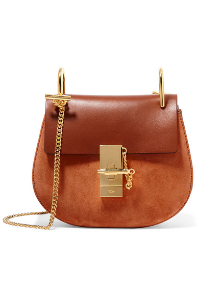 Chloé - Drew Mini Leather And Suede Shoulder Bag - Brown