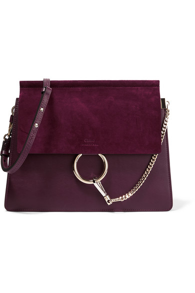Chloé - Faye Medium Leather And Suede Shoulder Bag - Grape