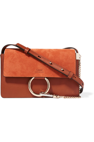 Chloé - Faye Small Leather And Suede Shoulder Bag - Tan