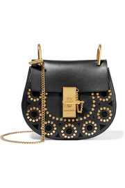 Drew mini studded leather and suede shoulder bag